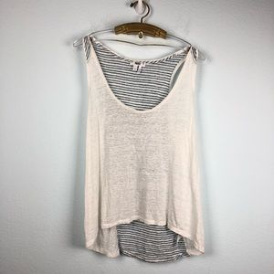 Paige • White Striped High Low Linen Tank Top